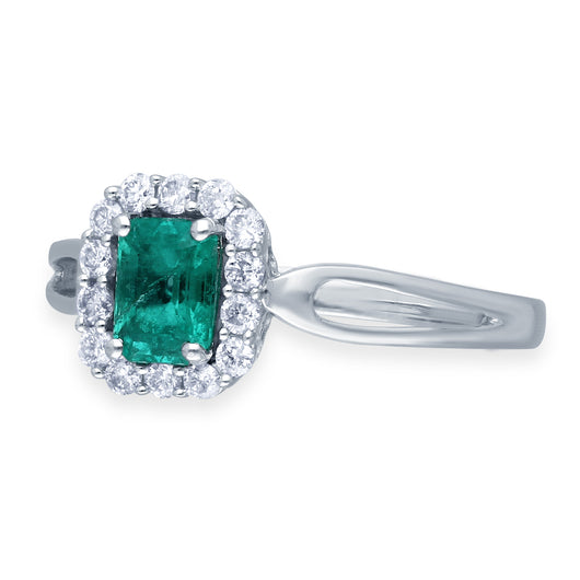 Kallati Heirloom Emerald Cut Emerald & Diamond Engagement Ring in 14K White Gold
