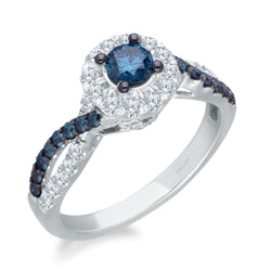 White Gold Blue & White Diamond Eternal Ring