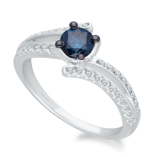 White Gold Blue & White Diamond Eternal Ring Diamond CT WT 0.7