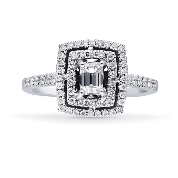14K WHITE GOLD BAGUETTE & WHITE DIAMOND ENGAGEMENT RING