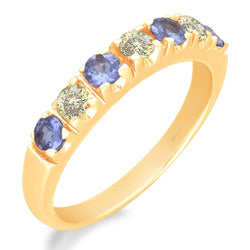 Yellow Gold Tanzanite and Yellow Diamond Renaissance Ring