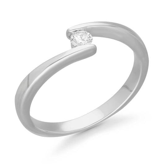 Kallati Eternal Solitaire Diamond Engagement Ring in 14K White Gold