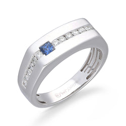 White Gold Diamond and Sapphire Men's Ring
