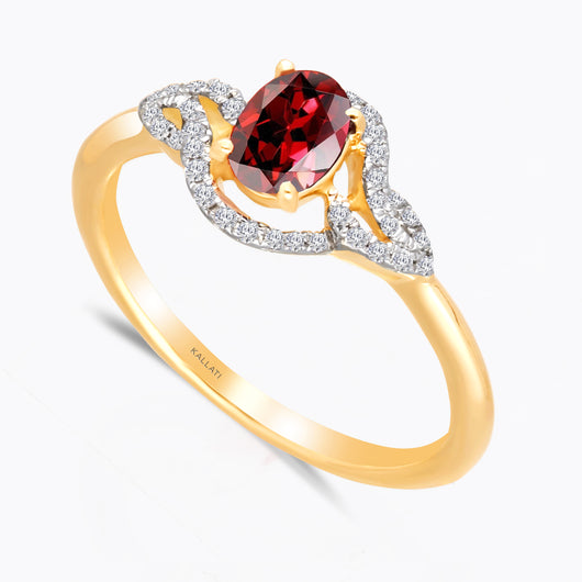 Kallati Heirloom Oval Twist Ruby & Diamond  Engagement Ring in 14K Yellow Gold
