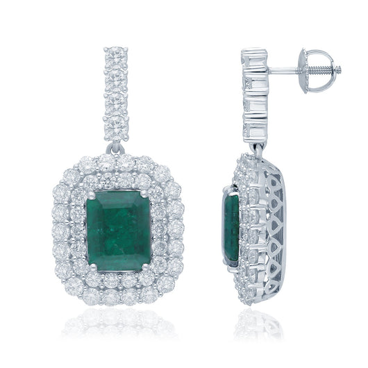 White Gold Emerald & Diamond Heirloom Earrings