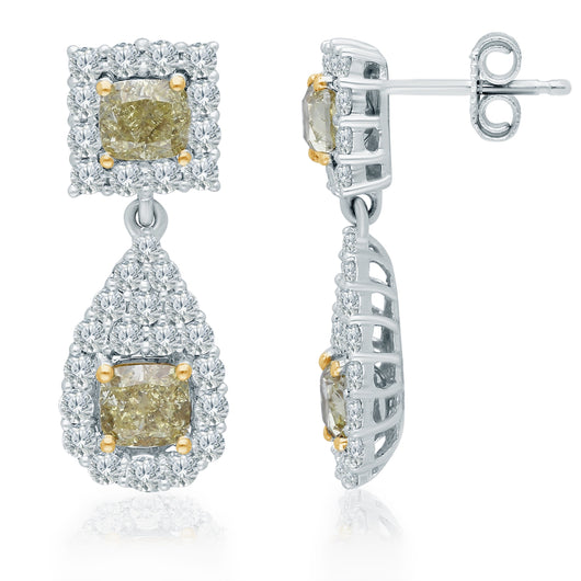 Two Tone Gold GIA Yellow & White Diamond Eternal Earrings