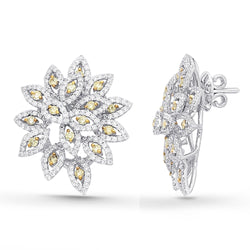 White Gold Yellow & White Diamond Eternal Earrings
