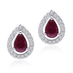 White Gold Ruby & Diamond Heirloom Stud Earrings