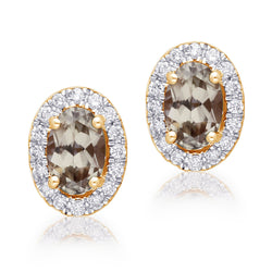 Yellow Gold Csarite & Diamond Heirloom Stud Earrings