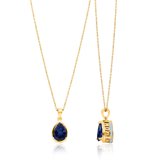 Yellow Gold Sapphire & Diamond Heirloom Pendant