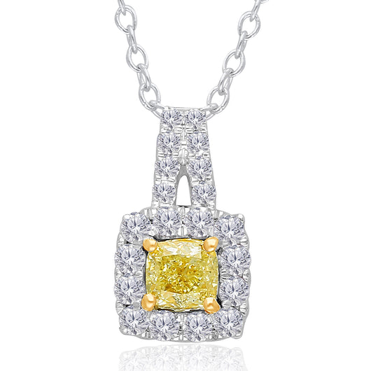 Two Tone Gold GIA Yellow & White Diamond Eternal Pendant