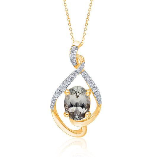 Yellow Gold Csarite & Diamond Heirloom Pendant