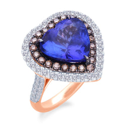 Rose Gold Coco & White Diamond Tanzanite Heirloom Ring