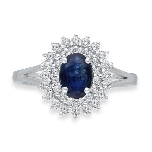 White Gold Sapphire & Diamond Heirloom Ring