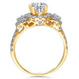 Kallati Eternal  Three Stone Round Halo Diamond Engagement Ring in 14K Yellow Gold