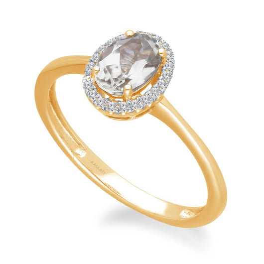 Yellow Gold Csarite & Diamond Heirloom Ring