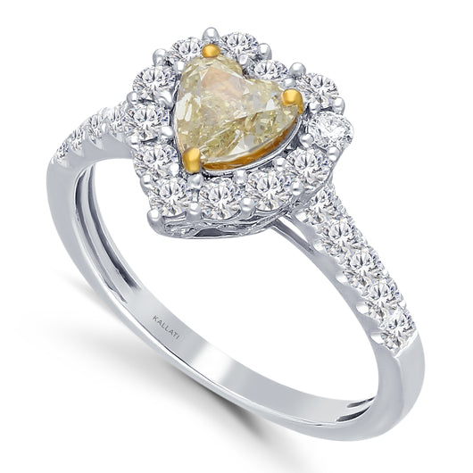 Kallati Eternal Heart Halo Yellow Diamond Engagement Ring in 14K White Gold