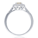 Kallati Eternal Cushion Halo Split Shank Yellow Diamond Engagement Ring in 14K White Gold