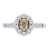 Kallati Eternal Oval Halo Yellow Diamond Engagement Ring in 14K White Gold