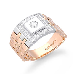 Rose and White Gold Diamond Men's Ring