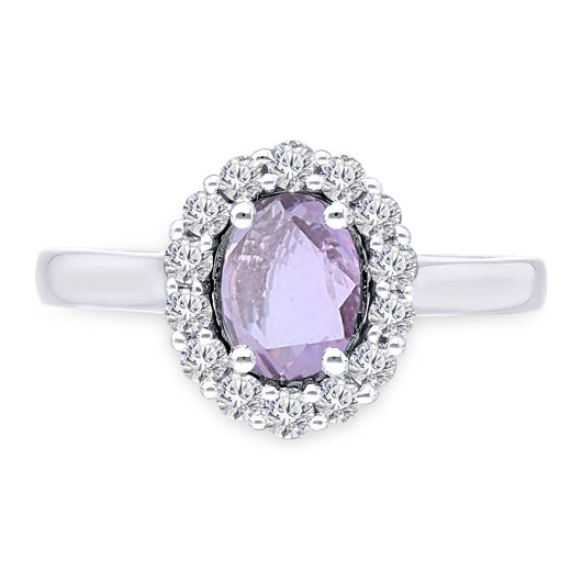 Kallati Heirloom Oval Halo Natural Colored Sapphire & Diamond Engagement Ring in 14K White Gold
