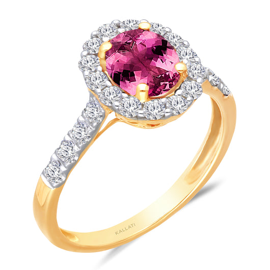 Kallati Heirloom Oval Halo Natural Colored Sapphire & Diamond Engagement Ring in 14K Yellow Gold