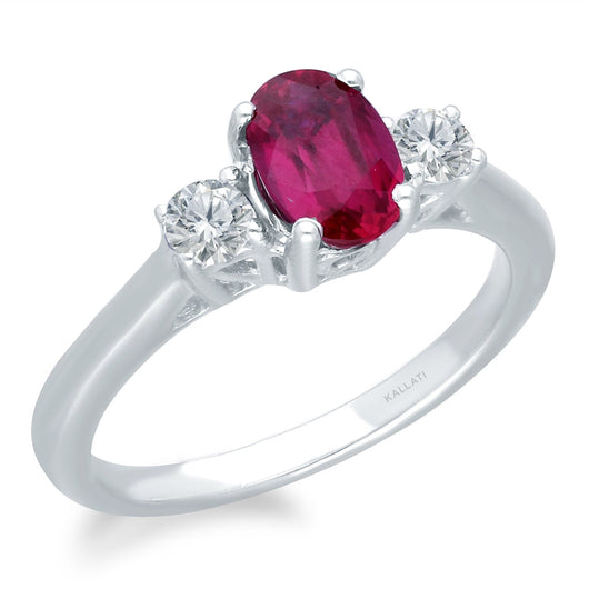 White Gold Lab Certified Ruby & Diamond Heirloom Ring