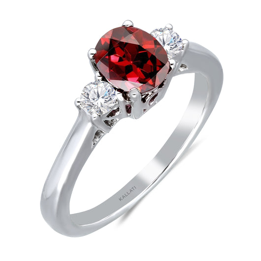 Kallati Heirloom Oval Three Stone Ruby & Diamond Engagement Ring in 14K White Gold