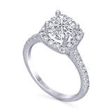 Kallati Eternal Cushion Halo Diamond Engagement Ring in 14K White Gold