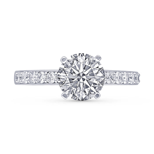 Kallati Eternal Round  Solitaire Diamond Engagement Ring  in 14K White Gold