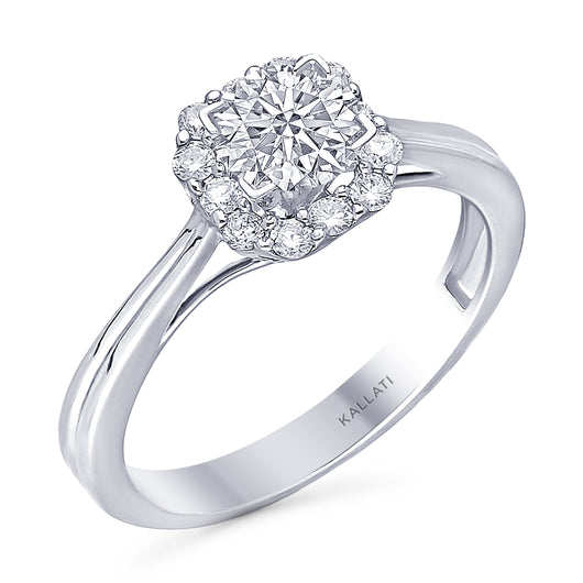 Kallati Eternal Round Halo Diamond Engagement Ring in 14K White Gold