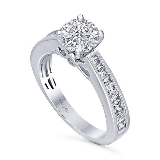Kallati Legendary Round  Solitaire Channel Set Diamond Engagement Ring  in 14K White Gold