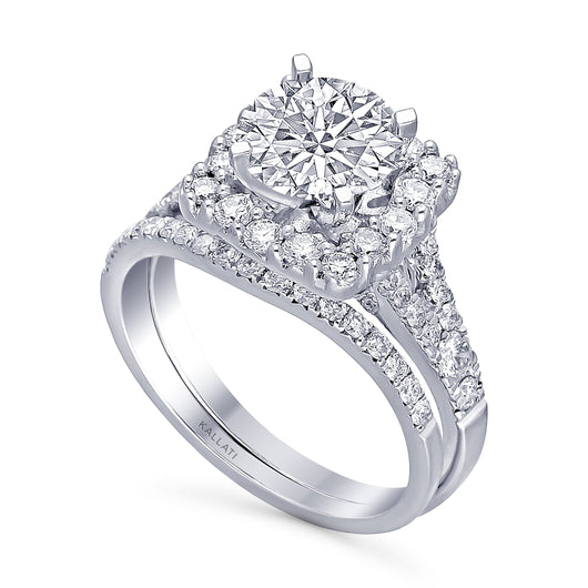 Kallati Eternal Cushion Halo Diamond Engagement Ring With Matching Band in 14K White Gold