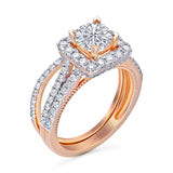 Kallati Eternal Cushion Halo  Diamond Engagement Ring With Matching Band in 14K Rose Gold