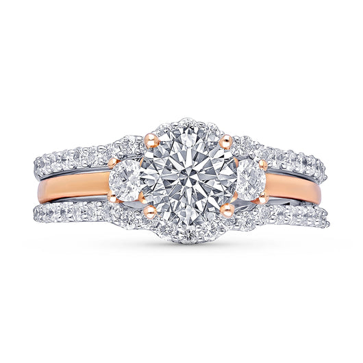 Kallati Eternal Three Stone Diamond Engagement Ring With Matching Band in 14K White and  Rose Gold