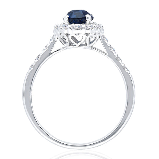 Kallati Heirloom Oval Halo Sapphire & Diamond Engagement Ring in 14K White Gold