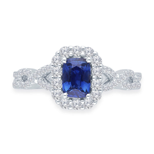 White Gold Lab Certified Sapphire & Diamond Heirloom Ring