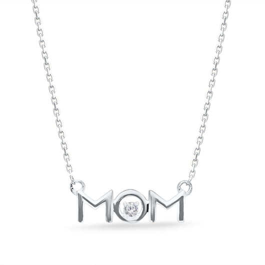 White Gold Diamond Eternal Mom Necklace