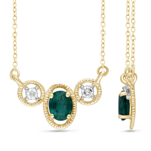 Yellow Gold Emerald & Diamond Heirloom Necklace