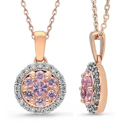 Rose Gold Pink Sapphire & Diamond Heirloom Pendant