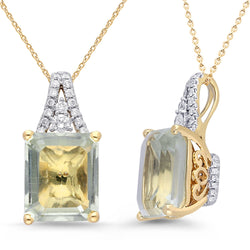 Yellow Gold Green Amethyst & Diamond Heirloom Pendant