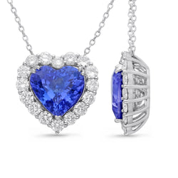 White Gold Tanzanite & Diamond Heirloom Pendant