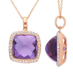 Rose Gold Amethyst & Diamond Heirloom Pendant