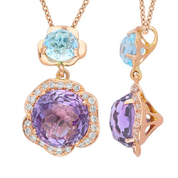 Rose Gold Blue Topaz, Amethyst & Diamond Heirloom Pendant
