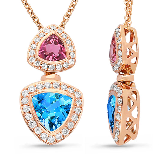 Rose Gold Pink Tourmaline, Blue Topaz & Diamond Heirloom Pendant