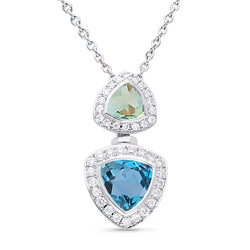 White Gold London Blue Topaz, Green Amethyst & Diamond Heirloom Pendant