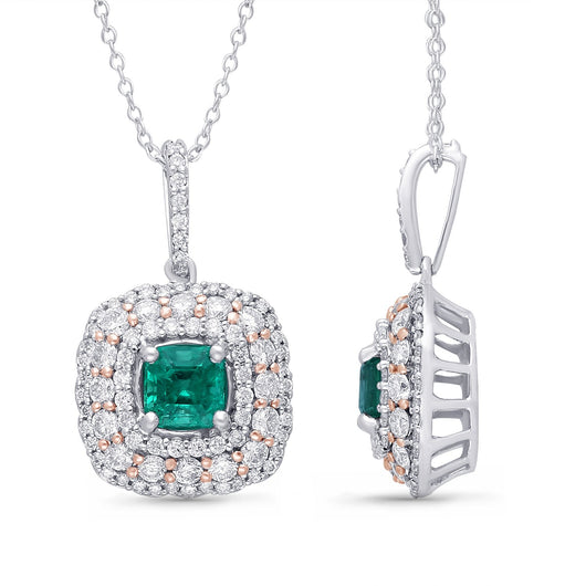 White Gold Columbian Emerald & Diamond Heirloom Pendant