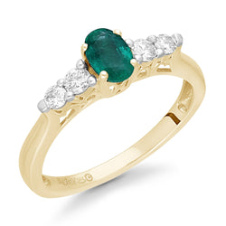 Yellow Gold Emerald & Diamond Heirloom Ring