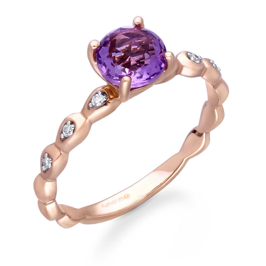 Rose Gold Amethyst & Diamond Heirloom Ring