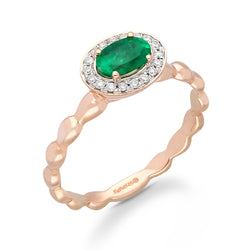 Rose Gold Emerald & Diamond Heirloom Ring